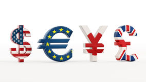 Currency symbols with country flags Royalty Free Stock Photos