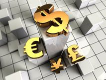 Currency symbols. 3d illustration of abstract bars background with currency symbols stock illustration
