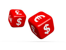 Currency Symbols on Dices. Euro, dollar and sterling, on white background Royalty Free Stock Photo