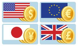 Currency symbols: dollar, euro, yen, pound sterling. Flags of th Stock Photography
