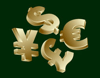 Currency symbols - dollar, euro, yen, sterling Royalty Free Stock Photo