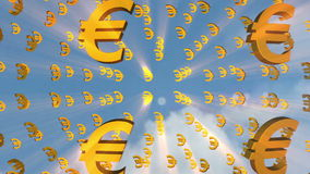 Currency symbols (Euro) stock footage