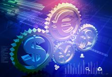 Currency symbols in gear mechanism. Financial background Royalty Free Stock Photos