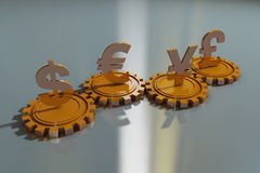 Currency symbols and gear Stock Images