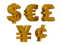 Currency symbols in gold Stock Photography