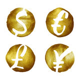 Currency symbols hand drawn set. Royalty Free Stock Image
