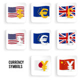 Currency symbols icon set: dollar, euro, pound, yuan, yen. Currency symbols icon set - dollar, euro, pound, yuan, yen with flags. Vector illustration royalty free illustration