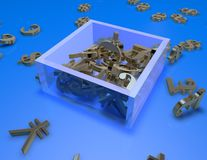 Currency symbols il a box, blue abstract illustration Royalty Free Stock Photo