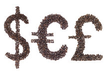 Currency symbols made with a coffee beans Stock Photography
