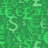 Currency symbols seamless pattern - green color. Dollar, euro, yean and pound icons Royalty Free Stock Image