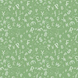 Currency symbols seamless pattern. Seamless pattern of currency symbols over green background Stock Images