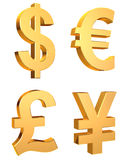 Currency symbols set isolated white - 3d render. 3D rendered currency symbols set on white background Stock Photography