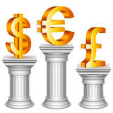 Currency symbols on sport podium. Golden dollar, euro and pound symbols on antique columns Royalty Free Stock Photo