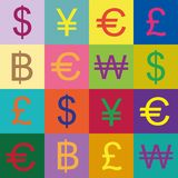 Currency symbols vector design. Style pop art Stock Images