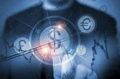 Currency Trade Decision. Abstract Concept of Men Trading Currency Using Touch Screen Features. Global Currency Trader Concept. Choosing US Dollars. Trading Stock Photography