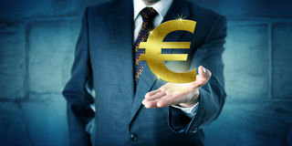 Currency Trader Showing A Golden Euro Symbol Stock Photos