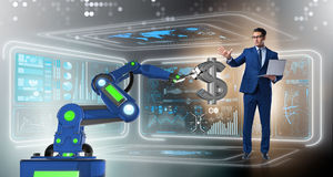 The currency trader using modern technologies. Currency trader using modern technologies stock illustration