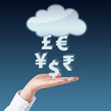 Currency Transfer Between Void Cloud And Open Hand. Currency symbols transferring between an open hand and a blank cloud computing icon. Yen, Pound, Euro, Rupee stock image