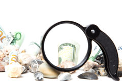 Currency under a magnifying glass Royalty Free Stock Image