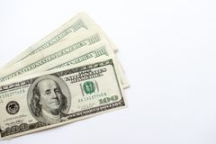 Currency US dollar banknotes close-up on white background stock photo