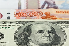 Currency: US dollars and Russian rubles Stock Images