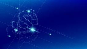 Currency USD United States Dollars isometric symbol particle line lighting pattern wireframe futuristic, Digital money. Cryptocurrency concept illustration stock illustration