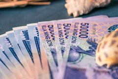 Currency of Uzbekistan. Uzbek money. Money banknote of the country Uzbekistan royalty free stock images