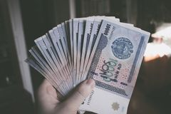 Currency of Uzbekistan. Uzbek money. Money banknote of the country Uzbekistan royalty free stock image