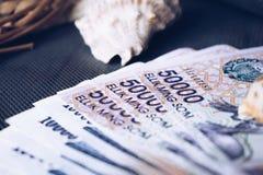 Currency of Uzbekistan. Uzbek money. Money banknote of the country Uzbekistan stock photo
