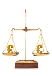 Currency value euro and pound. Euro and pound symbols balanced on weighing scales Royalty Free Stock Photo