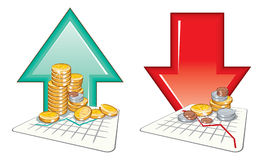 Currency values. Price going up and down - detailed vector illustration royalty free illustration