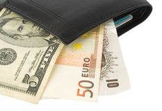 Currency from wallet Stock Images
