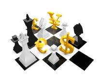 Currency war. Conceptual graphic, currency war, isolated on white background Royalty Free Stock Photo