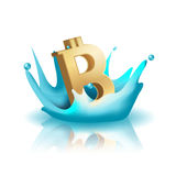 Currency Water Splash Gold Bath Vector Stock Photography