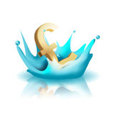 Currency Water Splash Gold Pound Vector Stock Photography