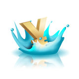 Currency Water Splash Gold Yen Vector Royalty Free Stock Photos