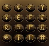 Currency web buttons Stock Photos
