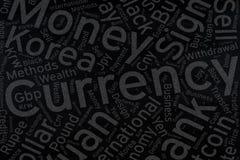 Currency ,Word cloud art on blackboard Royalty Free Stock Photos