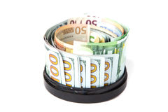 The currency is worth around the circular stand Stock Photos