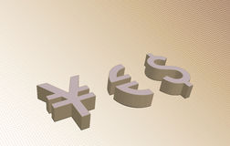 Currency yes sign Stock Images