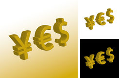 Currency yes signs. 3d illustration of currency yes signs formed from yen, dollar and euro symbols vector illustration