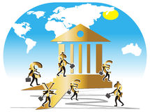 Currencys die als Bankbedienden wordt geïllustreerd. vector illustratie