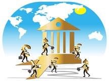 Currencys ilustrou como empregados do banco. Imagem de Stock