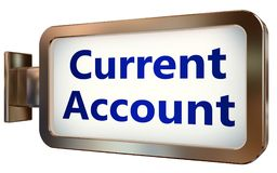 Current Account on billboard background. Current Account wall light box billboard background , isolated on white Royalty Free Stock Photo