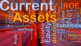 Current assets background concept glowing. Background concept wordcloud illustration of finance current assets glowing light royalty free illustration
