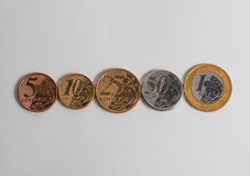 Current brazilian coins real in crecent order Royalty Free Stock Photos