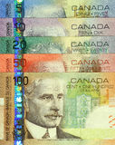 Current Canadian Paper Money Set. This complete set of Canadian paper money is of the current circulating banknotes and were issued from 2004-2006 Royalty Free Stock Images