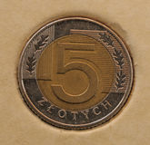 Current coins of polsky. Zloty stock photos
