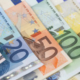 Current Euro notes Stock Photos