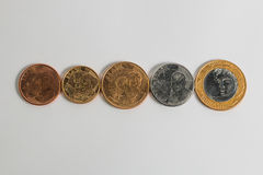 Current face brazilian coins real in crescent order Royalty Free Stock Images
